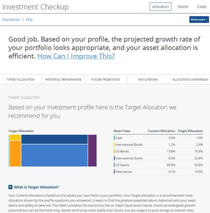 personal capital investment check-up
